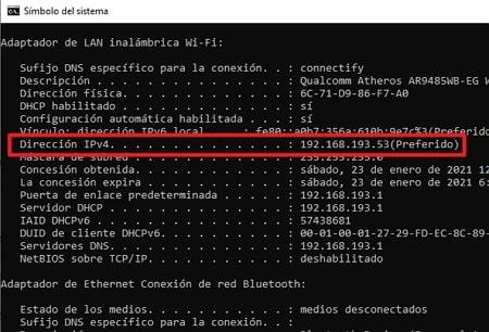 Direccion IP de server
