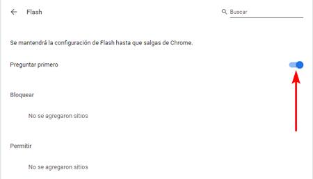 Preguntar por activar Adobe Flash en Google Chrome