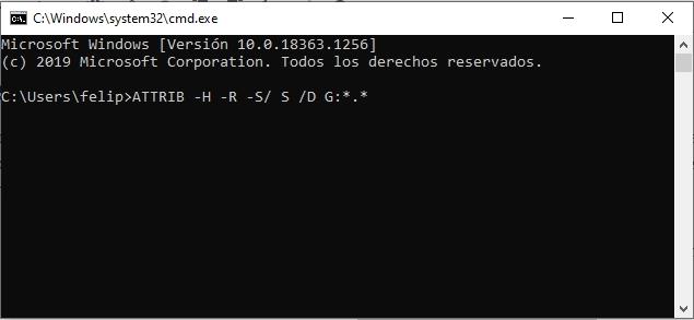 Recuperar archivos en usb desde símbolo del sistema