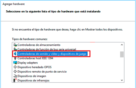 Seleccionar controladores de video para Windows 10