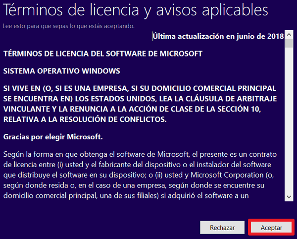 Terminos de licencia windows 10