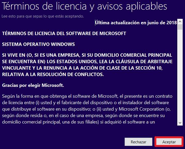 Terminos de licencia windows 10