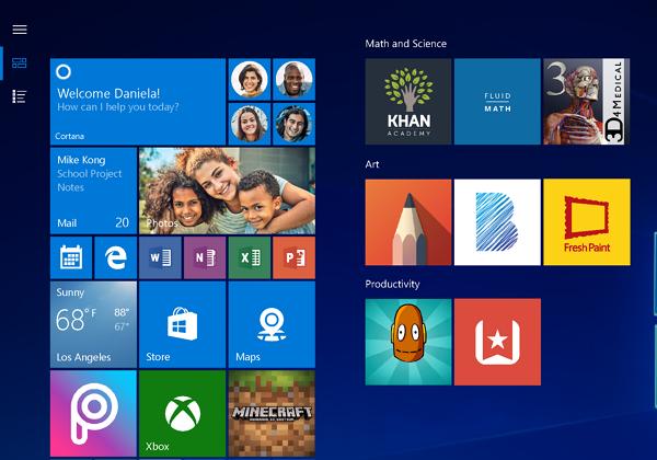 Windows 10 versión reciente