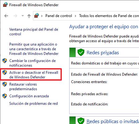 Activar firewall