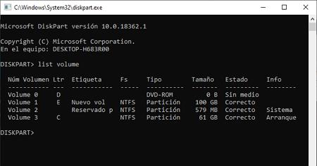 Comando diskpart en Windows 10