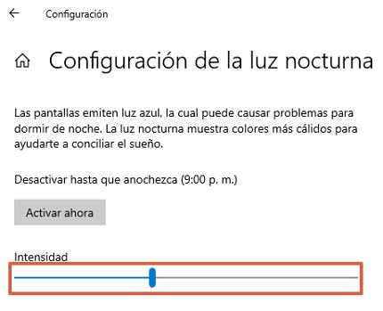 Cómo configurar la luz nocturna en Windows 10 paso 4