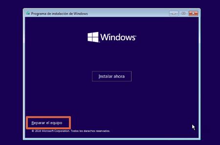 Cómo reparar el inicio de Windows 10 desde los medios de instalación paso 4