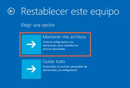 Cómo reparar el inicio de Windows 10 restableciendo el equipo paso 4