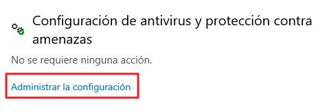 Configuracion de antivirus protección contra amenazas