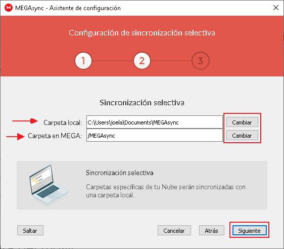 Configuración de la sincronización