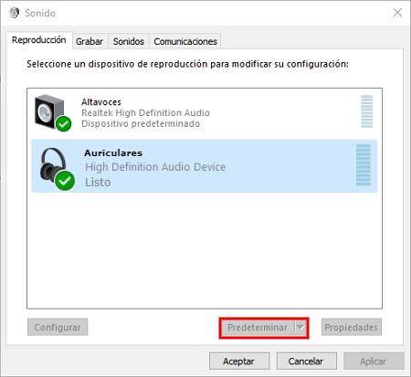 Predeterminar dispositivos de audio en Windows 10