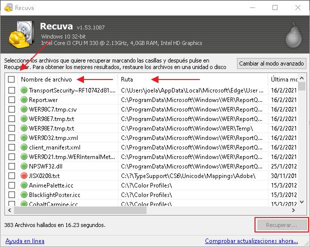 Recuperar archivos eliminados - Recuva