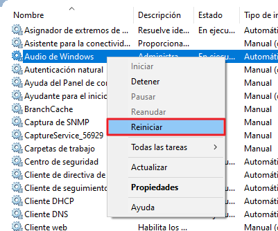 Reiniciar servicios de audio en Windows 10