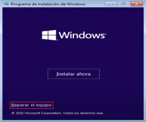 Reparar inicio de windows 10 desde menu
