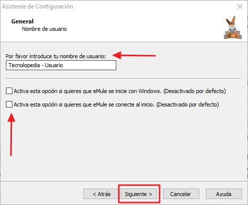 Asistente de Configuración de eMule - Nombre de usuario