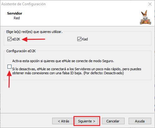 Asistente de Configuración de eMule - Red