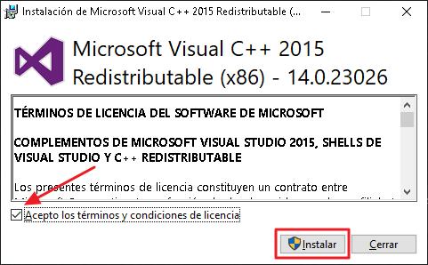 Instalación de Microsoft Visual C++ 2015 Redistributable