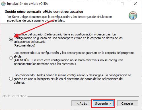 Instalación de eMule v0,50a - Decide cómo comaprtir eMule con otros usuarios