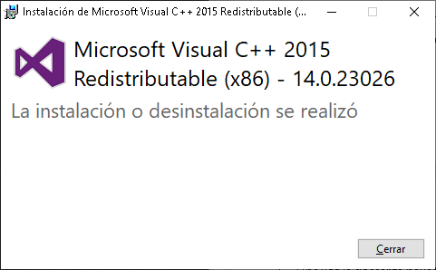 Instalación exitosa de Microsoft Visual C++ 2015 Redistributable