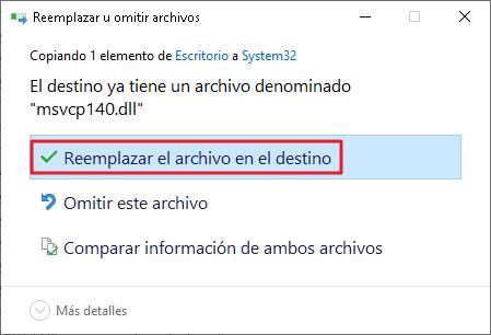 Reemplazar archivo de destino.
