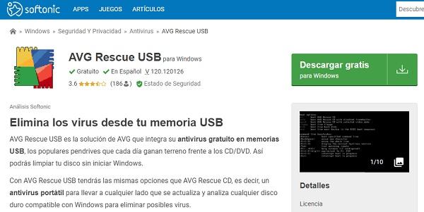AVG Rescue USB para pendrive o memoria USB