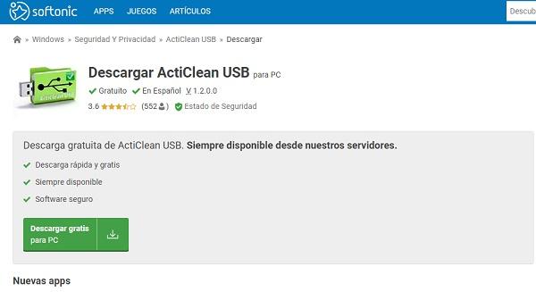 ActiClean USB para pendrive o memoria USB