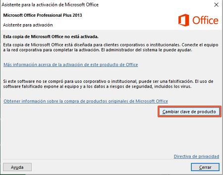 Cómo activar Microsoft Office 2016 ingresando clave de producto paso 2