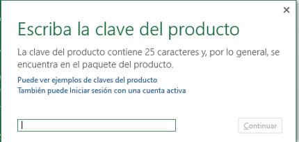 Cómo activar Microsoft Office 2016 ingresando clave de producto paso 3