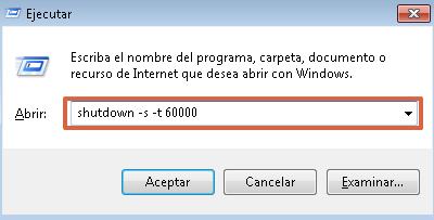 Cómo apagar o reiniciar tu PC con shutdown desde aplicación Ejecutar paso 2