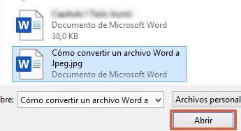 Cómo convertir documentos de Word a un archivo JPEG usando Convertio paso 3
