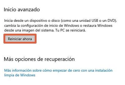 Cómo entrar a la BIOS de un ordenador con Windows 10 desde el menú de configuración avanzada paso 5