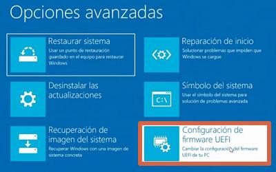 Cómo entrar a la BIOS de un ordenador con Windows 10 desde el menú de configuración avanzada paso 8