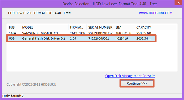 Como hacer el formateo de bajo nivel usando la herramienta HDD Low Level Format paso 2
