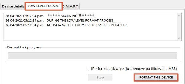Como hacer el formateo de bajo nivel usando la herramienta HDD Low Level Format paso 3