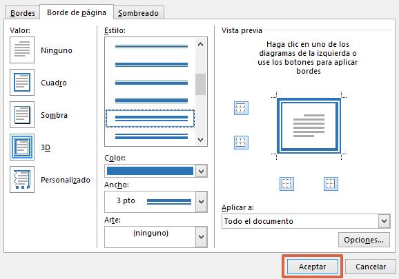 Cómo poner marcos o bordes en las hojas de Word paso 3