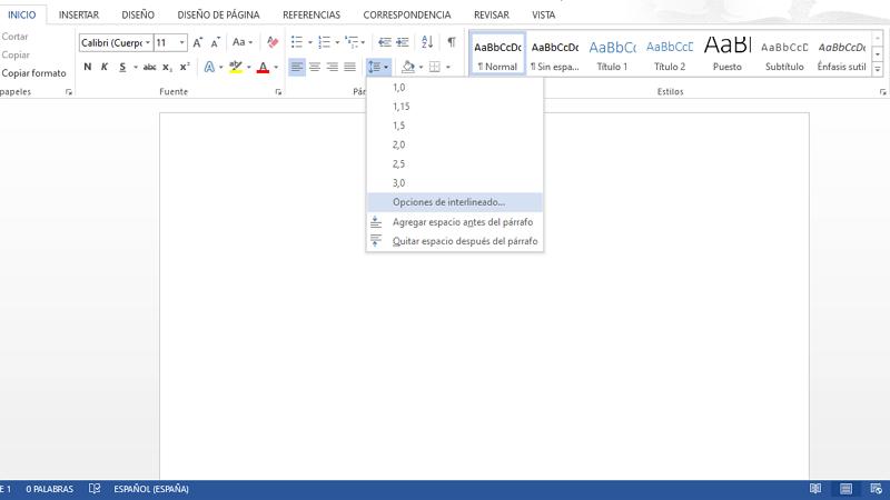 Cómo poner o cambiar el interlineado en Microsoft Word