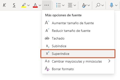 Cómo poner o escribir al cuadrado o potencia en Microsoft Office Word Online