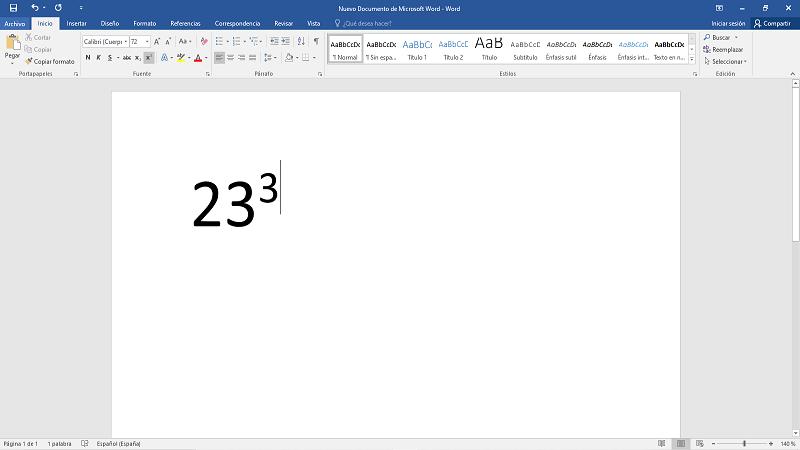 Cómo poner o escribir al cuadrado o potencia en Word