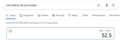 Cómo sacar o calcular el porcentaje de una cantidad específica usando una calculadora de porcentajes en Google