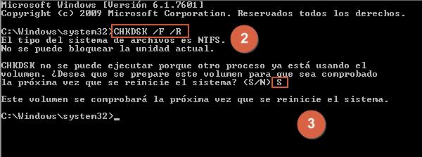 Cómo solucionar o reparar el error 0x8007045d en Windows con CHKDSK paso 2 y 3