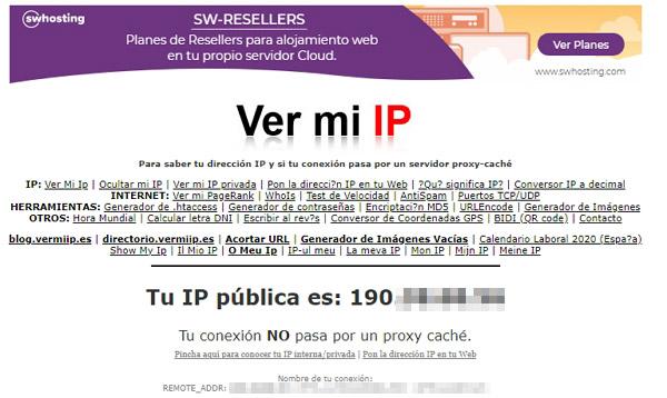 Cómo ver la dirección IP pública en el ordenador desde vermiip.es