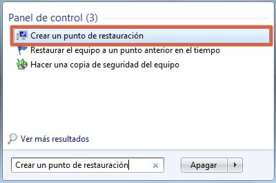 Configurar sistema de restauración de Windows 7 paso 1
