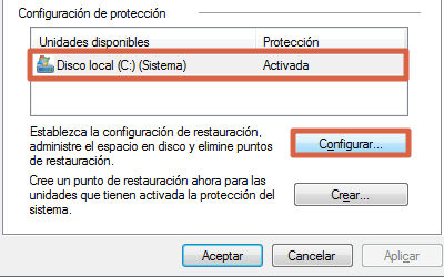 Configurar sistema de restauración de Windows 7 paso 2