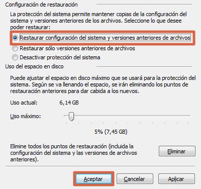 Configurar sistema de restauración de Windows 7 paso 3