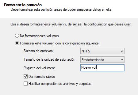 Dar formato al disco despues de eliminar las particiones paso 5