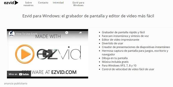 Ezvid como programa para hacer o editar videos