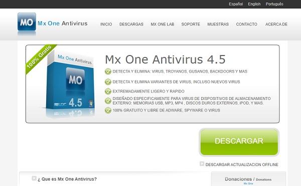 Mx One Antivirus 4.5 para pendrive o memoria USB