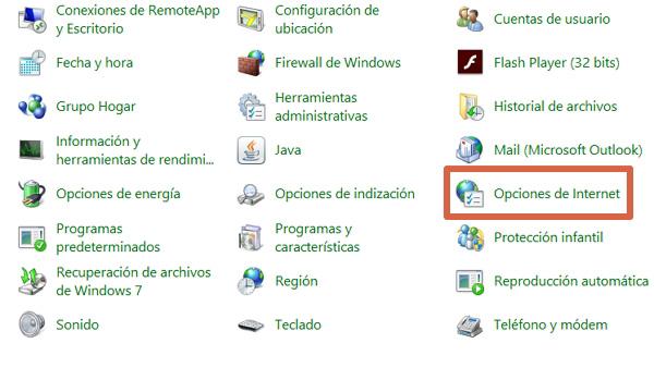 Opciones de Internet en Windows