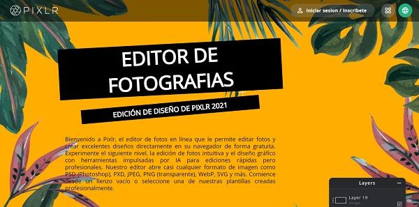 Pixlr como programa para editar fotos