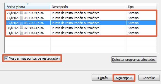 Restaurar Windows 7 con herramienta del sistema paso 5.